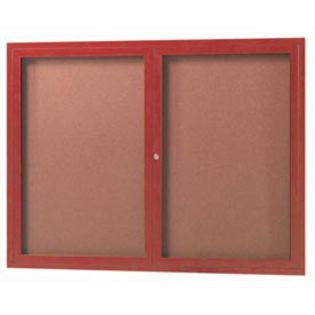 "Aarco ODCCW3648R 2 Door Outdoor Enclosed Bulletin Board with Aluminum Wood-Look  Cherry Finish 36"" x 48"""