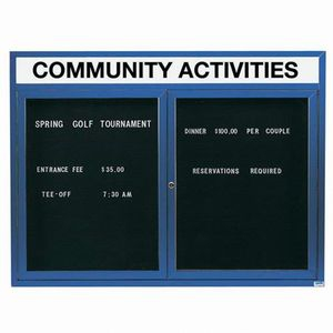 """Aarco OADC3648HIB 2 Door Outdoor Illuminated Enclosed Directory Board with Blue Anodized Aluminum Frame 36"""" x 48"""""""