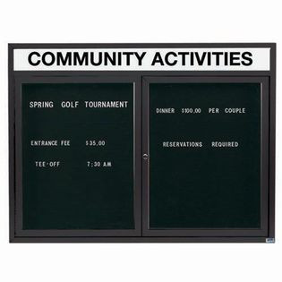 """Aarco OADC3648HIBA 2 Door Outdoor Illuminated Enclosed Directory Board with Bronze Anodized Aluminum Frame 36"""" x 48"""""""