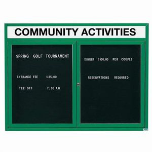 "Aarco OADC3648HIG 2 Door Outdoor Illuminated Enclosed Directory Board with Green Anodized Aluminum Frame 36"" x 48"""