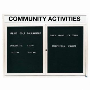 """Aarco OADC3648HIW 2 Door Outdoor Illuminated Enclosed Directory Board with White Anodized Aluminum Frame 36"""" x 48"""""""