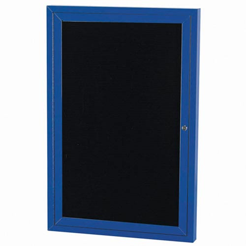 """Aarco OADC3648IB 2 Door Outdoor Illuminated Enclosed Directory Board with Blue Anodized Aluminum Frame 36"""" x 48"""""""