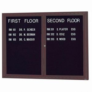"""Aarco OADC3648IBA 2 Door Outdoor Illuminated Enclosed Directory Board with Bronze Anodized Aluminum Frame 36"""" x 48"""""""