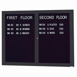 """Aarco OADC3648IBK 2 Door Outdoor Illuminated Enclosed Directory Board with Black Anodized Aluminum Frame 36"""" x 48"""""""