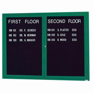 "Aarco OADC3648IG 2 Door Outdoor Illuminated Enclosed Directory Board with Green Anodized Aluminum Frame 36"" x 48"""