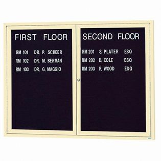 """Aarco OADC3648IIV 2 Door Outdoor Illuminated Enclosed Directory Board with Ivory Anodized Aluminum Frame 36"""" x 48"""""""