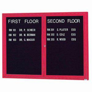 "Aarco OADC3648IR 2 Door Outdoor Illuminated Enclosed Directory Board with Red Anodized Aluminum Frame 36"" x 48"""