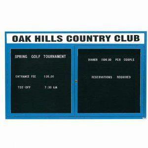 "Aarco OADC3660HIB 2 Door Outdoor Illuminated Enclosed Directory Board with Blue Anodized Aluminum Frame 36"" x 60"""