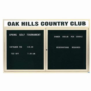 "Aarco OADC3660HIIV 2 Door Outdoor Illuminated Enclosed Directory Board with Ivory Anodized Aluminum Frame 36"" x 60"""