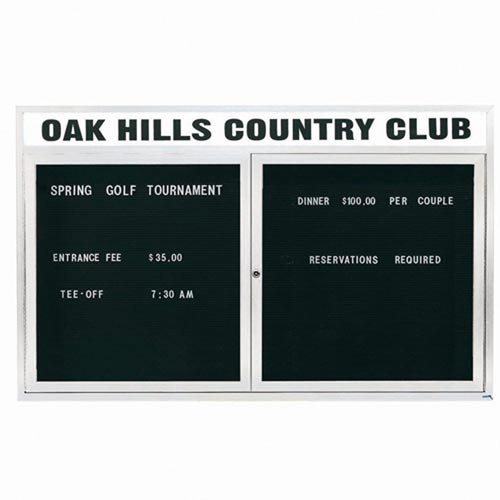 "Aarco OADC3660HIW 2 Door Outdoor Illuminated Enclosed Directory Board with White Anodized Aluminum Frame 36"" x 60"""