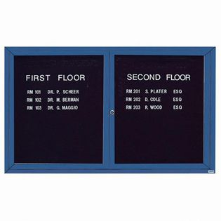 "Aarco OADC3660IB 2 Door Outdoor Illuminated Enclosed Directory Board with Blue Anodized Aluminum Frame 36"" x 60"""