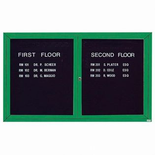 "Aarco OADC3660IG 2 Door Outdoor Illuminated Enclosed Directory Board with Green Anodized Aluminum Frame 36"" x 60"""