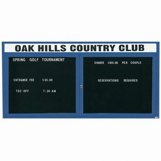 "Aarco OADC3672HIB 2 Door Outdoor Illuminated Enclosed Directory Board with Blue Anodized Aluminum Frame 36"" x 72"""