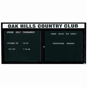 "Aarco OADC3672HIBK 2 Door Outdoor Illuminated Enclosed Directory Board with Black Anodized Aluminum Frame 36"" x 72"""