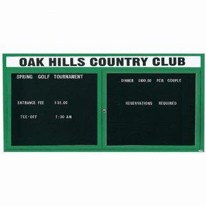 "Aarco OADC3672HIG 2 Door Outdoor Illuminated Enclosed Directory Board with Green Anodized Aluminum Frame 36"" x 72"""