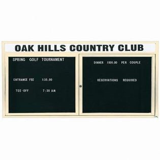 "Aarco OADC3672HIIV 2 Door Outdoor Illuminated Enclosed Directory Board with Ivory Anodized Aluminum Frame 36"" x 72"""
