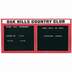 "Aarco OADC3672HIR 2 Door Outdoor Illuminated Enclosed Directory Board with Red Anodized Aluminum Frame 36"" x 72"""