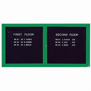 "Aarco OADC3672IG 2 Door Outdoor Illuminated Enclosed Directory Board with Green Anodized Aluminum Frame 36"" x 72"""