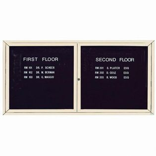"Aarco OADC3672IIV 2 Door Outdoor Illuminated Enclosed Directory Board with Ivory Anodized Aluminum Frame 36"" x 72"""