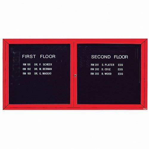 "Aarco OADC3672IR 2 Door Outdoor Illuminated Enclosed Directory Board with Red Anodized Aluminum Frame 36"" x 72"""
