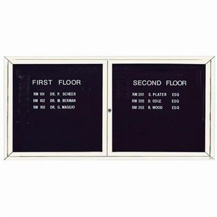 """Aarco OADC3672IW 2 Door Outdoor Illuminated Enclosed Directory Board with White Anodized Aluminum Frame 36"""" x 72"""""""