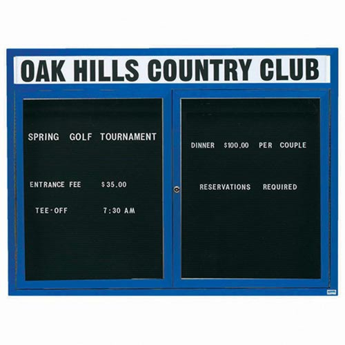 "Aarco OADC4860HIB 2 Door Outdoor Illuminated Enclosed Directory Board with Blue Anodized Aluminum Frame 48"" x 60"""
