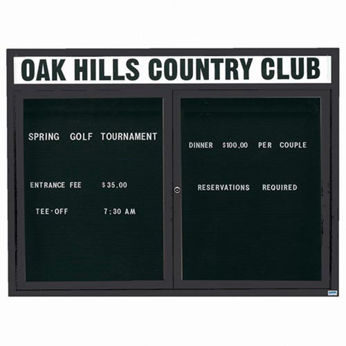 "Aarco OADC4860HIBK 2 Door Outdoor Illuminated Enclosed Directory Board with Black Anodized Aluminum Frame 48"" x 60"""