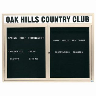 "Aarco OADC4860HIIV 2 Door Outdoor Illuminated Enclosed Directory Board with Ivory Anodized Aluminum Frame 48"" x 60"""