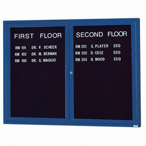 """Aarco OADC4860IB 2 Door Outdoor Illuminated Enclosed Directory Board with Blue Anodized Aluminum Frame 48"""" x 60"""""""