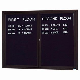 """Aarco OADC4860IBA 2 Door Outdoor Illuminated Enclosed Directory Board with Bronze Anodized Aluminum Frame 48"""" x 60"""""""