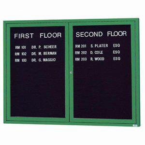 "Aarco OADC4860IG 2 Door Outdoor Illuminated Enclosed Directory Board with Green Anodized Aluminum Frame 48"" x 60"""