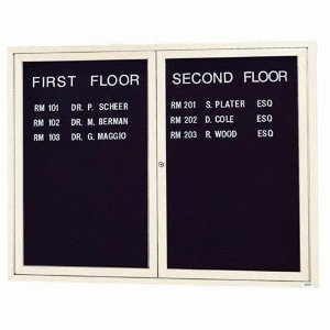 "Aarco OADC4860IIV 2 Door Outdoor Illuminated Enclosed Directory Board with Ivory Anodized Aluminum Frame 48"" x 60"""