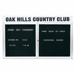 """Aarco OADC4872HIW 2 Door Outdoor Illuminated Enclosed Directory Board with White Anodized Aluminum Frame 48"""" x 72"""""""