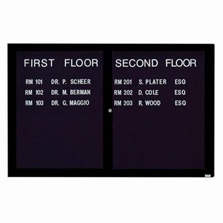 "Aarco OADC4872IBK 2 Door Outdoor Illuminated Enclosed Directory Board with Black Anodized Aluminum Frame 48"" x 72"""
