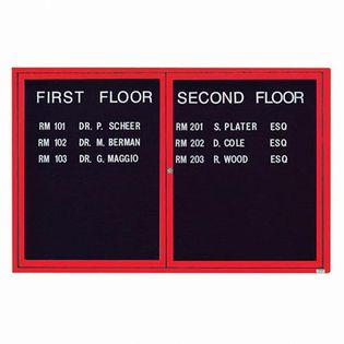 """Aarco OADC4872IR 2 Door Outdoor Illuminated Enclosed Directory Board with Red Anodized Aluminum Frame 48"""" x 72"""""""