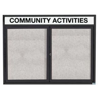 """Aarco ODCC3648RHIBK 2 Door Outdoor Illuminated Enclosed Bulletin Board with Powder Coated Aluminum Frame and Header 36"""" x 48"""""""
