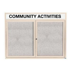 """Aarco ODCC3648RHIIV 2 Door Outdoor Illuminated Enclosed Bulletin Board with Powder Coated Aluminum Frame and Header 36"""" x 48"""""""