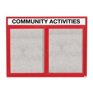 """Aarco ODCC3648RHIR 2 Door Outdoor Illuminated Enclosed Bulletin Board with Powder Coated Aluminum Frame and Header 36"""" x 48"""""""
