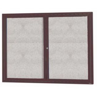 "Aarco ODCC3648RIBA 2 Door Outdoor Illuminated Enclosed Bulletin Board with Bronze Anodized Aluminum Frame 36"" x 48"""