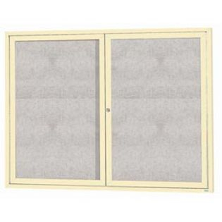 "Aarco ODCC3648RIIV 2 Door Outdoor Illuminated Enclosed Bulletin Board with Ivory Powder Coated Aluminum Frame 36"" x 48"""