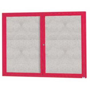 "Aarco ODCC3648RIR 2 Door Outdoor Illuminated Enclosed Bulletin Board with Red Powder Coated Aluminum Frame 36"" x 48"""