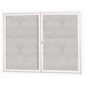 """Aarco ODCC3648RIW 2 Door Outdoor Illuminated Enclosed Bulletin Board with White Powder Coated Aluminum Frame 36"""" x 48"""""""