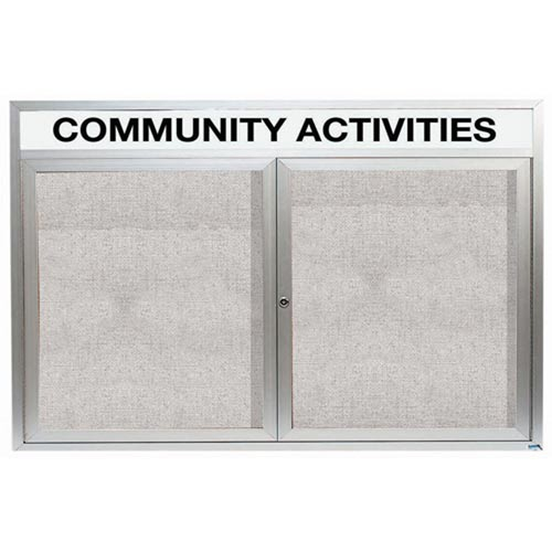 Aarco ODCC3660RHI 2 Door Outdoor Illuminated Enclosed Bulletin Board with  Aluminum Frame and Header 36