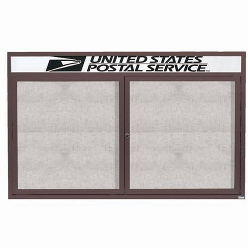 "Aarco ODCC3660RHIBA 2 Door Outdoor Illuminated Enclosed Bulletin Board with Bronze Anodized Aluminum Frame and Header 36"" x 60"""