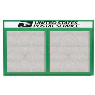 "Aarco ODCC3660RHIG 2 Door Outdoor Illuminated Enclosed Bulletin Board with Green Powder Coated Aluminum Frame and Header 36"" x 60"""