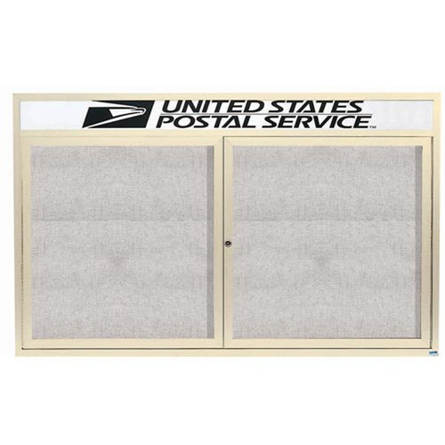 """Aarco ODCC3660RHIIV 2 Door Outdoor Illuminated Enclosed Bulletin Board with Ivory Powder Coated Aluminum Frame and Header 36"""" x 60"""""""