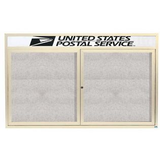 """Aarco ODCC3660RHIV 2 Door Outdoor Enclosed Bulletin Board with Ivory Powder Coated Aluminum Frame and Header 36"""" x 60"""""""