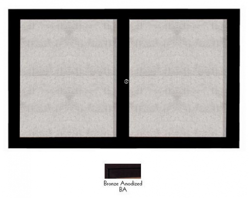 "Aarco ODCC3660RIBA 2 Door Outdoor Illuminated Enclosed Bulletin Board with Bronze Anodized Aluminum Frame 36"" x 60"""