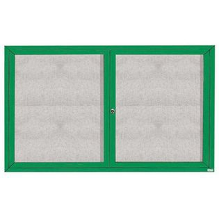 """Aarco ODCC3660RIG 2 Door Outdoor Illuminated Enclosed Bulletin Board with Green Powder Coated Aluminum Frame 36"""" x 60"""""""