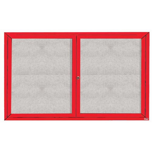 "Aarco ODCC3660RIR 2 Door Outdoor Illuminated Enclosed Bulletin Board with Red Powder Coated Aluminum Frame 36"" x 60"""
